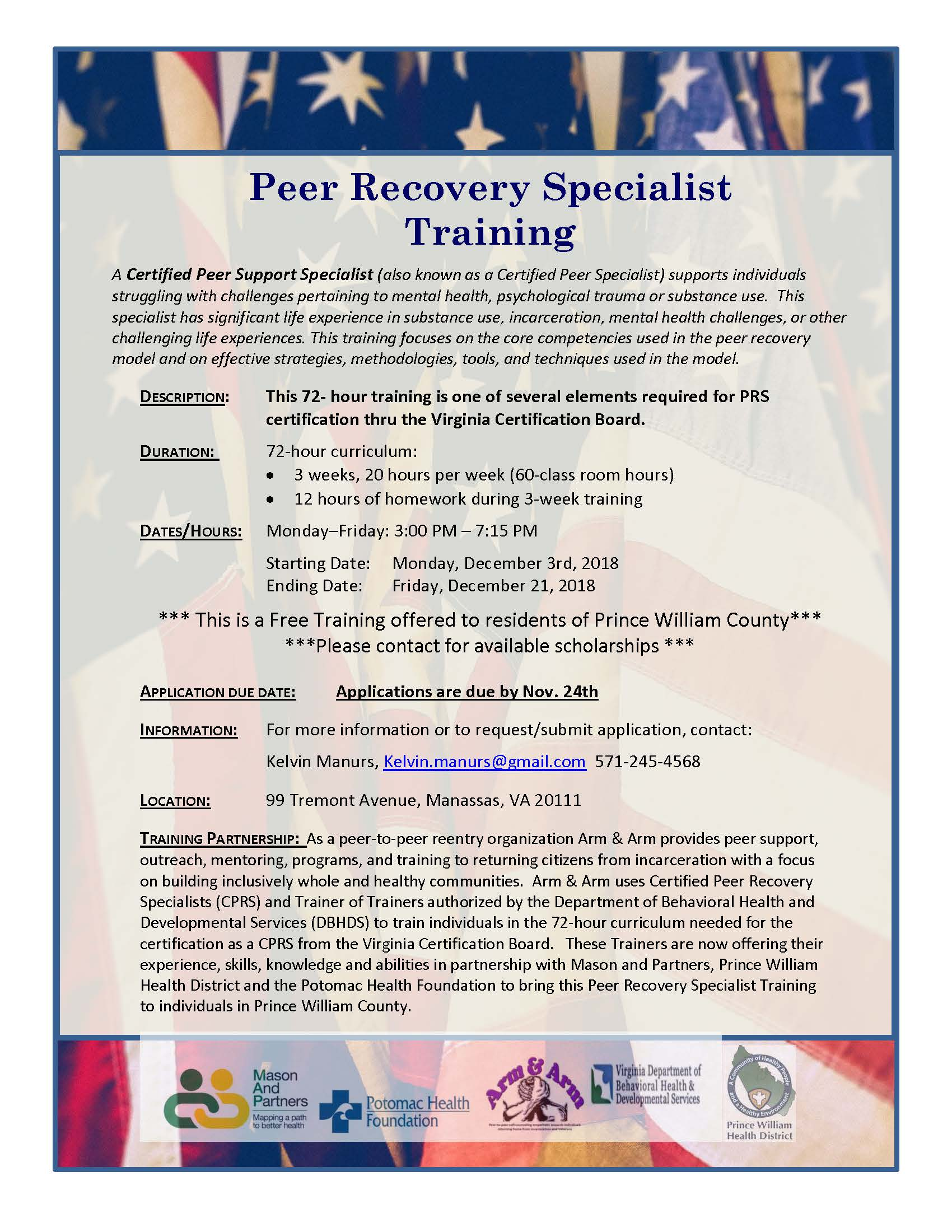 2018 PRS Training GMU (PWC) - Virginia Peer Recovery Specialist Network