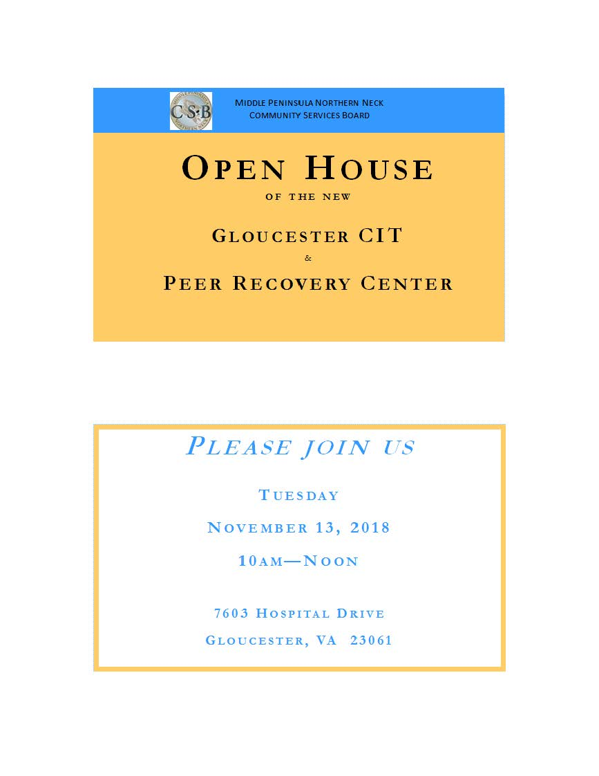 Open House Invitation Cit Virginia Peer Recovery Specialist Network