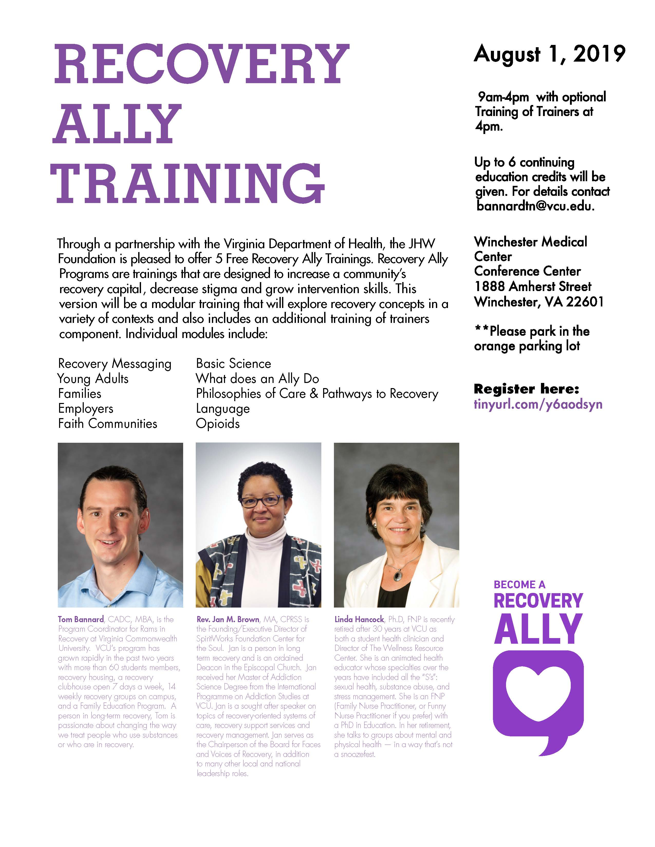Recovery Ally Training Aug 2019 Winchester
